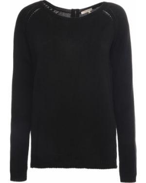 Черный свитер на молнии с круглым вырезом с поясом Gerard Darel