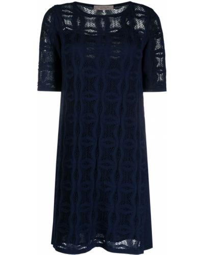 Синее платье мини трапеция с вырезом D.exterior