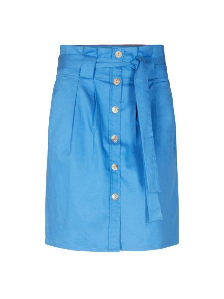 Прямая синяя юбка миди в рубчик с рукавом 3/4 NÜmph