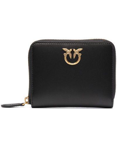 Золотистый черный кожаный кошелек для монет Pinko