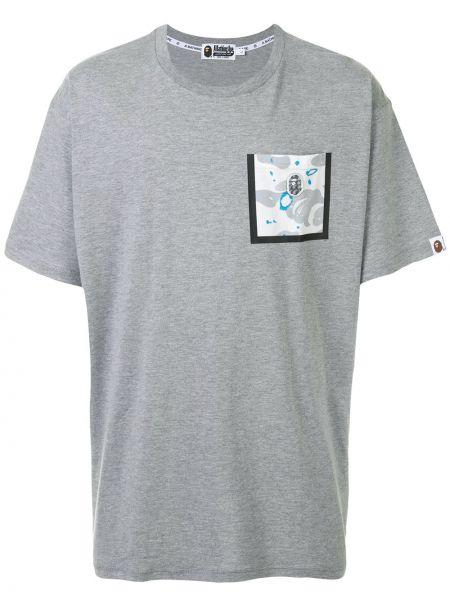 Хлопковая серая футболка с карманами с круглым вырезом Bape