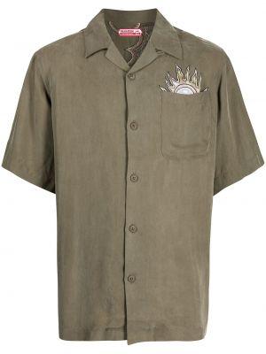 Зеленая рубашка с коротким рукавом с короткими рукавами Maharishi