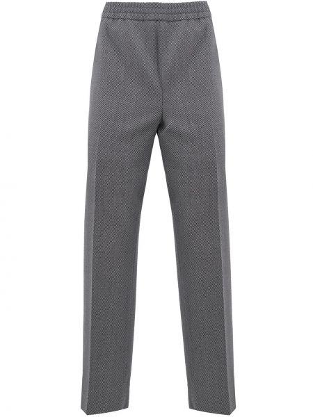 Bawełna spodni wełniany spodnie o prostym kroju z kieszeniami Gucci
