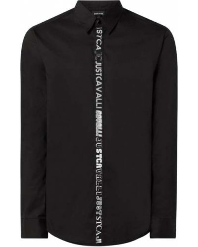 Czarna koszula bawełniana z długimi rękawami Just Cavalli