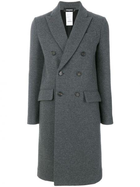 Серое шерстяное пальто с лацканами с карманами Dsquared2