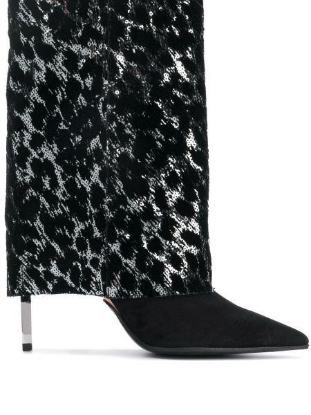 Однобортные черные сапоги без каблука с острым носом из вискозы Balmain