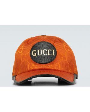 Ватная хлопковая оранжевая шапка Gucci