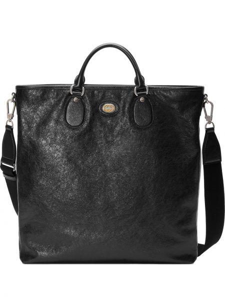Czarna torba na ramię skórzana vintage Gucci