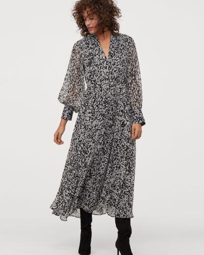 Шифоновое платье макси свободного кроя на резинке H&m