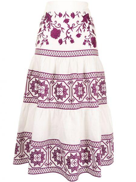 Bielizna fioletowy spódnica midi z haftem Alexis