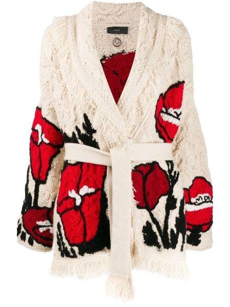Белое кашемировое пальто с запахом Alanui