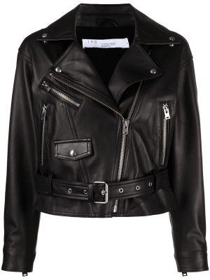 Черная кожаная куртка байкерская Iro