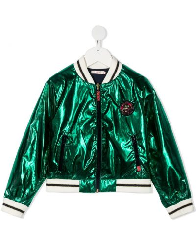Zielona długa kurtka bawełniana z długimi rękawami Billieblush