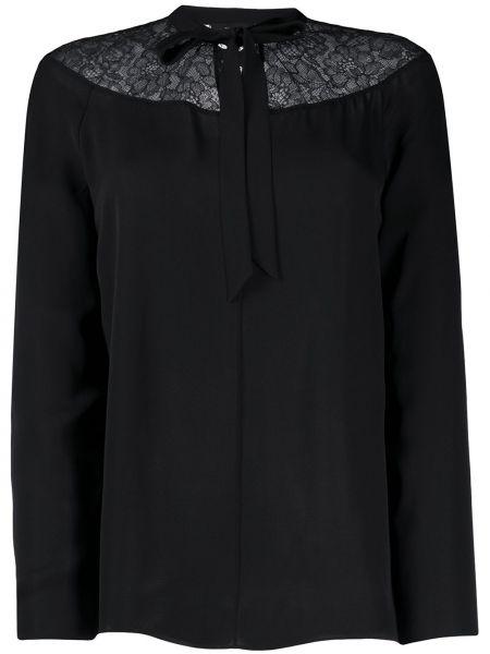 Кружевная шелковая черная блузка Theory