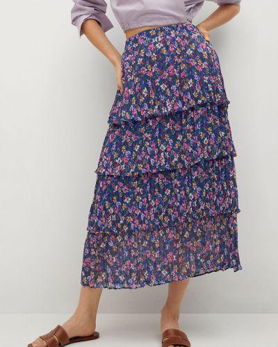 Niebieska spódnica maxi rozkloszowana z falbanami Mango