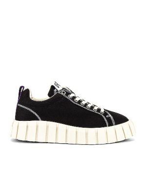 Czarne sneakersy na platformie sznurowane Eytys