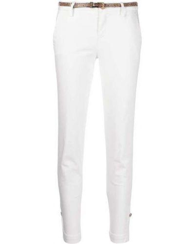 Białe spodnie rurki bawełniane zapinane na guziki Liu Jo
