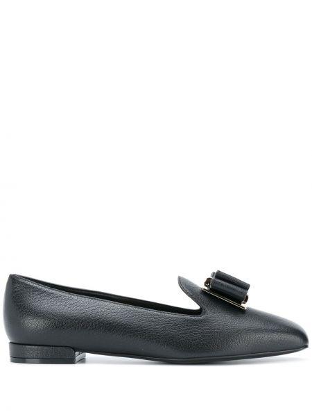 Черные слиперы квадратные с квадратным носком на низком каблуке Salvatore Ferragamo