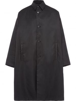Czarny płaszcz materiałowy Prada