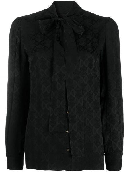 Шелковая черная блузка с бантом Dolce & Gabbana