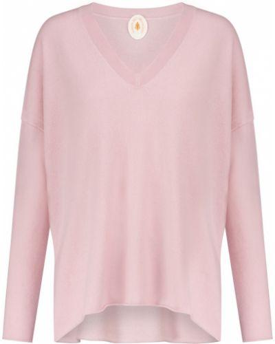 Różowy kaszmir sweter z dekoltem w szpic Jardin Des Orangers