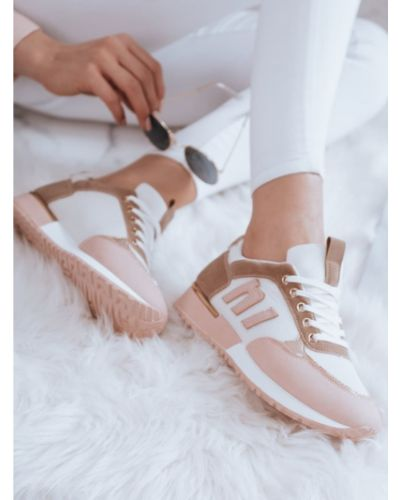 Buty sportowe skorzane - różowe Dstreet
