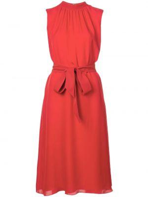 Шелковое красное платье миди с поясом Sachin & Babi
