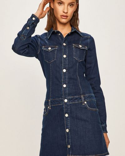 Темно-синее платье мини с манжетами с вырезом Pepe Jeans