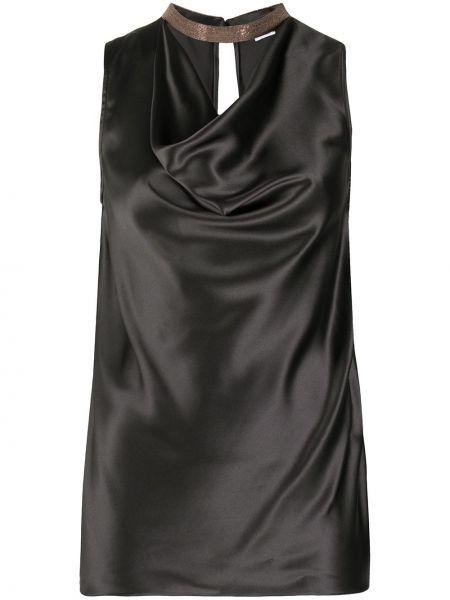 Шелковая черная прямая блузка без рукавов с драпировкой Brunello Cucinelli