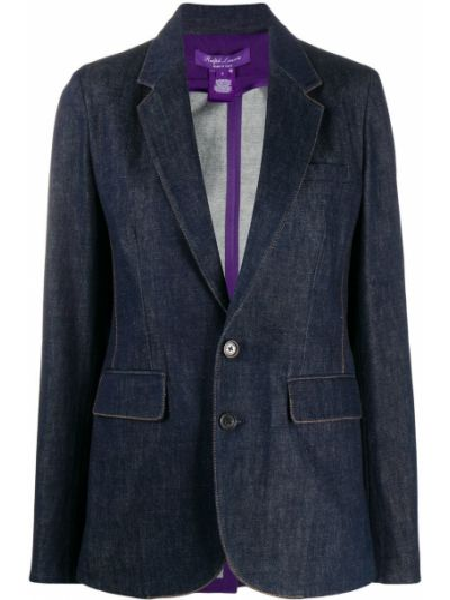Кожаный синий пиджак с карманами на пуговицах Ralph Lauren