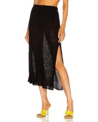 Свободная черная юбка миди на резинке The Elder Statesman