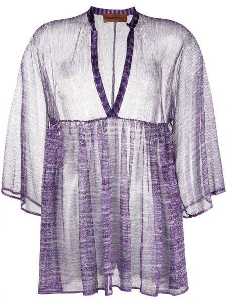 Fioletowy z rękawami tunika z wiskozy z dekoltem w szpic Missoni Mare