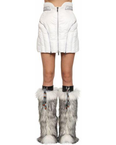 Biała spódnica mini pikowana z nylonu Byblos