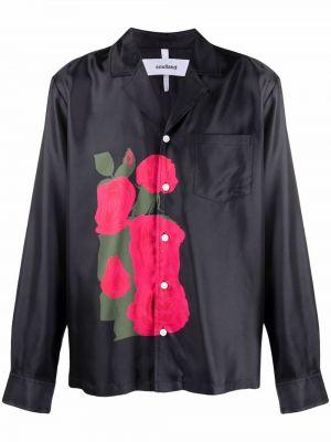 Czarna koszula z długimi rękawami Soulland