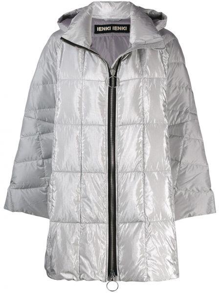 Прямое свободное пальто с капюшоном айвори с перьями Ienki Ienki