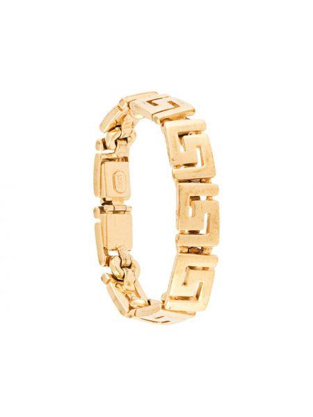 Золотистый желтый браслет позолоченный Versace Pre-owned