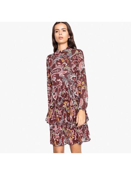Платье миди с длинными рукавами с оборками La Redoute Collections