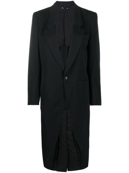 Однобортное шерстяное черное длинное пальто Comme Des Garçons