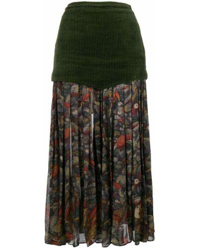 Плиссированная юбка миди с цветочным принтом Versace Vintage
