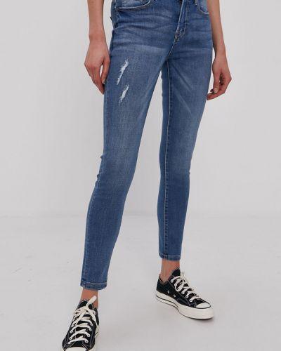 Niebieskie jeansy rurki bawełniane Jacqueline De Yong