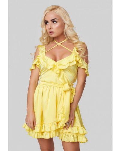 Однобортное желтое платье Luxlook