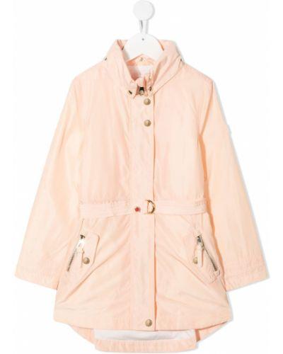 Różowy długi płaszcz bawełniany z długimi rękawami Chloé Kids