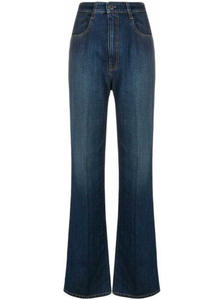 Хлопковые синие с завышенной талией джинсы на молнии Prada