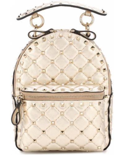 Кожаный рюкзак на молнии стеганый Valentino