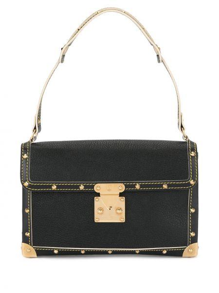 Skórzana torebka czarna z nadrukiem Louis Vuitton Pre-owned