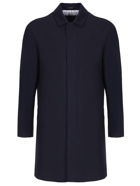 Синий классический плащ на пуговицах с карманами Montecore