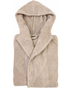 Beżowy szlafrok bawełniany z kapturem Armani/casa