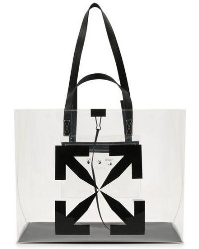 Белая сумка шоппер прозрачная Off-white