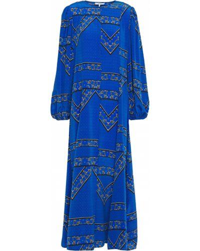 Шелковое синее платье макси с манжетами Ganni