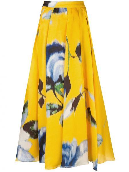 Żółta spódnica maxi z wysokim stanem z jedwabiu Carolina Herrera